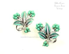 Coro Turquoise Aqua Enamel Silvertone Leaf and Berry Vintage Earrings by…