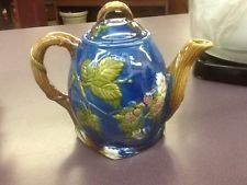 Majolica Teapot-Strawberries And Leaves Pattern-Excellent Condition-Free Ship!