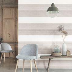 VINYL BOIS STRIPE - BEIGE - Natty & Polly - Wallpaper Australia Zuber Wallpaper, Diy Wall, Wall Decor, Striped Walls, Interior Decorating, Interior Design, Nature Decor, Scandinavian Design, My Room