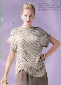 Share Knit and Crochet: Knitting wave pullover for the summer. Chart is included. Free Knitting, Free Crochet, Knit Crochet, Crochet Lace Edging, Crochet Blouse, Knitting Patterns, Crochet Patterns, Single Crochet Stitch, Loose Fitting Tops