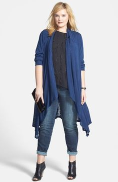 Bobeau Long Wrap Cardigan, Vince Camuto Feather Embellished Blouse & DKNY Jeans Sculpted Slim Jeans (Plus Size)  available at #Nordstrom