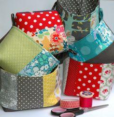 mini grey linen patchwork fabric storage baskets
