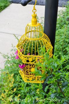 Turn a bird cage into a fun planter for your garden. Tutorial at www.whatsurhomestory.com