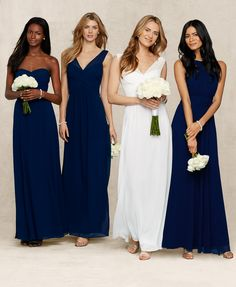 Lauren Ralph Lauren Wedding: Mix and match navy blue bridesmaid dresses for an unexpected twist on an elegant, formal wedding.