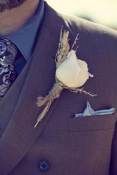 Country Chic Burlap & Lace DIY Wedding | Confetti Daydreams - Rose Boutonniere with twine ♥ #CountryChic #Burlap #Lace #DIY