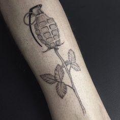 Ravishing Fine Line Tattoos by Jessica Aaron Grenade Tattoo, Alphonse Mucha Art, Girls Run The World, Fine Line Tattoos, Black And Grey Tattoos, Tattoo Designs, Grenades, Pomegranates, Black And Gray Tattoos