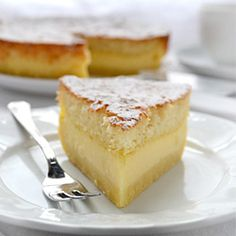 Magic Cake - You make only one batter and, after baking, you get a cake with 3 distinct layers: dense one on the bottom, custard-like layer in the middle, and a sponge layer on top.