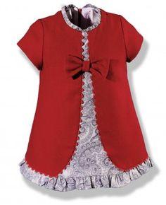 Vestido evasé en rojo y gris