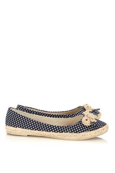 Navy Polka Dot Flat Shoe - one adorable pair of flats that would look fab with khaki and denim!