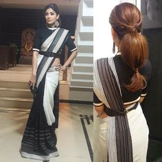 20 divine hairstyles to complete your saree Nine meters. Nine meters of a sare is enough to turn an ordinary woman into an Indian goddess. When a woman drapes a sari, she makes a statement. Saree Wearing Styles, Saree Styles, Trendy Sarees, Stylish Sarees, Fancy Blouse Designs, Blouse Neck Designs, Saree Hairstyles, Easy Hairstyles, Saris