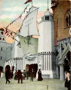 1906 Dreamland Coney Island, NY. Andrew Mack's Fish Pond, operated by the popular Irish comedian, was located on the East Promenade, between The Haunted Swing and The Canals of Venice. It's unique facade had the prow of a ship with its mainsail set over the entrance. On either side of the doorway were lighthouse towers supported by mermaids. Visitors used a pole and line to try and catch mechanical tin fish. The fish were numbered. If you caught a lucky fish you won a prize up to $250.
