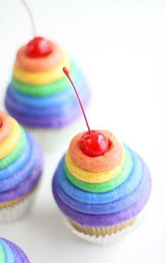 Sprinkle Bakes: Rainbow Frosting Cupcakes frostings, sprinkl bake, cupcakes, sprinkles, rainbow cupcak, rainbows, frost cupcak, rainbow frost, dessert