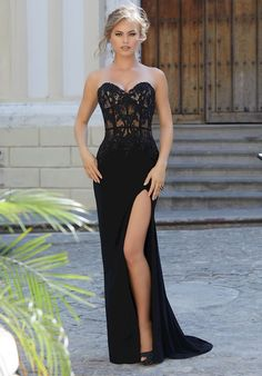 a71380e0c8f MoriLee 42132. Beaded Lace and Jersey Form Fitting Prom Dresses