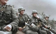 Wehrmacht troops take a minute to catch their breath while on the fast-paced Blitzkrieg into Poland. September, 1939.
