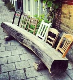 Upcycle old chair backs into a log for a garden bench DIY Garden Yard Art When growing your own lawn Outdoor Projects, Garden Projects, Garden Art, Home And Garden, Garden Types, Tree Garden, Sun Garden, Diy Möbelprojekte, Diy Crafts