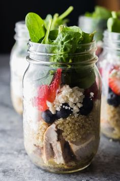 This strawberry spinach quinoa salad in a jar is the perfect fresh summer meal prep lunch! Spend a bit of time prepping your lunches on the weekend and you'll be the envy of your office.