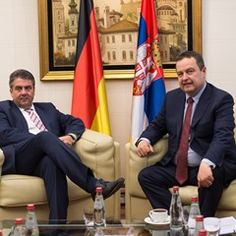 Sigmar Gabriel meets with the newly elected and controversial Serbian president