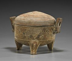 """Chinese Han Dynasty Painted Pottery Censer with cover; of circular form with two squared loop handles and with banded and geometric motifs (wear); L: 8 1/2"""""""