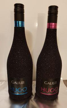 Hugo glitter wine bottle black, wijn fles zwart