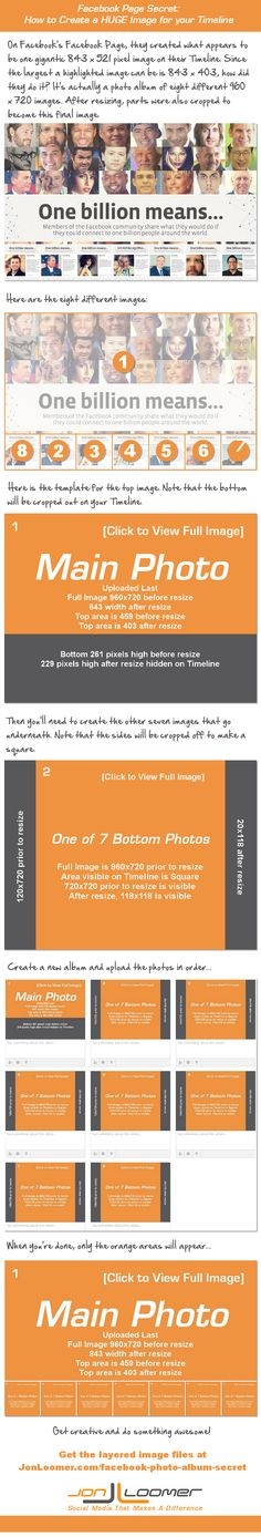 Facebook Page Secret: Create a HUGE Image for Your Timeline [Infographic] > Really cool trick for creative brands on Facebook!