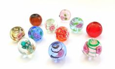 Multicolored Lampwork Glass Beads!!  11-12mm in Size.  11 Beads Per Order.  Really Beautiful Coloring!!  Great Beads At Great Prices!! by FunkyCreativeJuices on Etsy