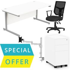 Home office starter pack consisting of a desk, chair, monitor arm and pedestal