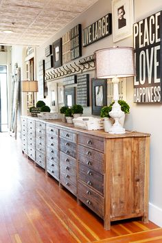 Fabulous Wall Of Cabinets And Gallery Wall With A Pressed Tin Ceiling...Beautiful Rooms Tour...Kristin Alber Style.
