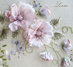 Ribbon embroidered wild roses Lorra58