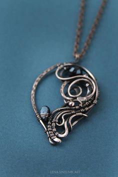 Garnet Wirewrap pendant Wire wrapped jewelry Wierewrap copper