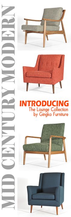 Gingko's mid-century modern lounge chairs are available in 6 rich colorways with solid Walnut frames. See the collection at www.gingkofurnitu... or VISIT our SF and Mountain View showrooms today.