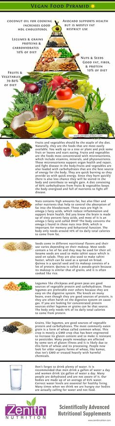 Fruits & Vegetables Nuts Seeds Legumes Grains Plenty of water. Best supplements from Zenith Nutrition. Plant Based Nutrition, Vegan Nutrition, Health And Nutrition, Nutrition Poster, Nutrition Chart, Nutrition Quotes, Nutrition Activities, Nutrition Education, Vegan Food Pyramid