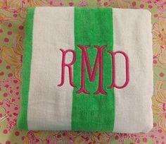 $28.95 Monogrammed Velour Cabana Stripe Beach Towel http://www.themonogrammerchant.com/item.php?item_id=7996