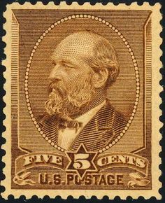 James Garfield 1882 Issue-5c.-Garfield is one of the few presidents to appear on a postage stamp more than the usual one or two times. The first issue to honor him was released in 1882, printed by the American Bank Note Company. The 5-cent Garfield was the second US postage stamp to honor an assassinated president within the year following his death and is also considered a 'mourning stamp' by many.