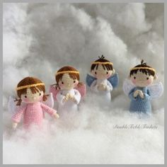Amigurumi Angels, Boys and Girls - Free English Pattern here: http://doubletrebletrinkets.co.uk/2016/01/25/angels-boys-and-girls/ More
