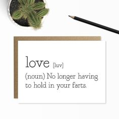 Funny Anniversary Card, Love Definition, Funny Farts Card, Fart Card, Funny Valentine, Rude Card, Funny Love Cards for Him, Boyfriend Card