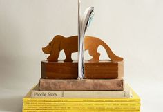 wood dog bookends