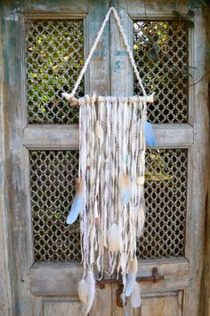 BOHO DREAM CATCHER wall hangings, Using driftwood, hand spun & hand dyed wools, vintage bone beads, hand painted feathers. one of a kind on Etsy, $450.00