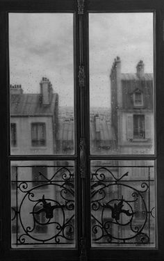 Room with a view. Paris in the Rain.Inspiration for your Paris vacation from Paris Deluxe Rentals Window View, Rear Window, Balcony Window, Iron Balcony, Paris Balcony, French Balcony, Glass Balcony, I Love Paris, Through The Window