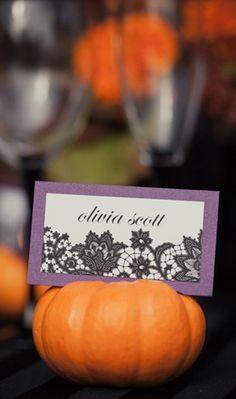 Halloween Purple and Orange Wedding Details. Maybe do black pumpkins with glitter!