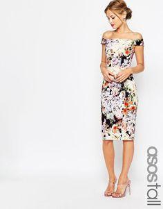 ASOS Tall | ASOS TALL WEDDING Bardot Navy Floral Off Shoulder Pencil Dress at ASOS