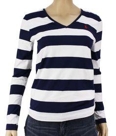 Polo Ralph Lauren Women's Navy Blue V-Neck Shirt « Shirt Add