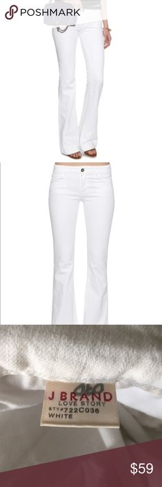 """J Brand Love Story white flare jeans stretch 30 J Brand white love story jeans. Size 30"""". Waist 33"""" rise 8.5"""" inseam 33"""". Mint condition. This white pair is crafted from stretch denim and cut to a flattering low-rise, flared-leg fit with traditionally pockets to finish. Super-soft stretch denim. Low-rise,skinny through the thigh, flared from the knee. Classic five pockets. V-shaped back yoke. Centre-front top button .90% cotton, 8% polyester, 2% elastane. Fits true to size. Slim-fitting…"""