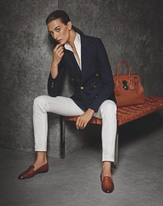 classic combination: white denim gets an elegant update with a navy blazer and accessories in the RL Icons collection