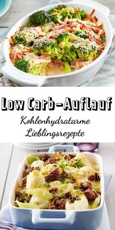 Low Carb-Auflauf - Rezepte mit Fleisch und Gemüse Recipes for low carb casserole, without any saturating side dishes such as pasta and potatoes, which consist of carbohydrates. With plenty of vegetabl Vegetable Recipes, Meat Recipes, Vegetarian Recipes, Chicken Recipes, Healthy Recipes, Delicious Recipes, Vegetarian Casserole, Hamburger Casserole, No Calorie Foods