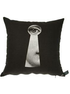 FORNASETTI - La Serratura cushion 4  in bright color for black leather sofa -- emerald?