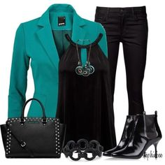 I like teal and black and the jewelry. Blazer is a plain style (prefer design details on my blazers to make them stand out). Heels too high and pointed (prefer kitten heels for work).