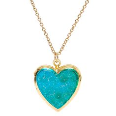 Mermaid Scales Heart Locket Pendant Gold-tone Necklace. | Claire's US