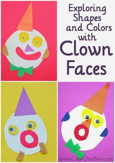 Awesome activity to explore shapes and colors with clown faces. Cutting, gluing, shape and color recognition, listening skills, and creativity! Great craft to use for toddlers or preschoolers during a circus theme unit.
