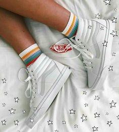 white vans w rainbow socks Sock Shoes, Vans Shoes, Cute Shoes, Me Too Shoes, Shoes And Socks, Cute Vans, Tenis Vans, Mode Vintage, Dream Shoes