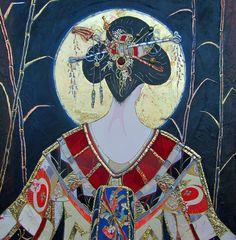 fine artistic geisha art | Evening Geisha by Sharon Butler / 36x36 / Mixed Media / Ojai Valley ...